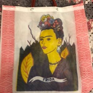 Handbags - Frida Kahlo mesh tote bag, White background